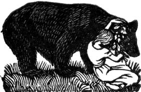 wood-engraving original print: The Bear for Mountains and Molehills by Frances Cornford